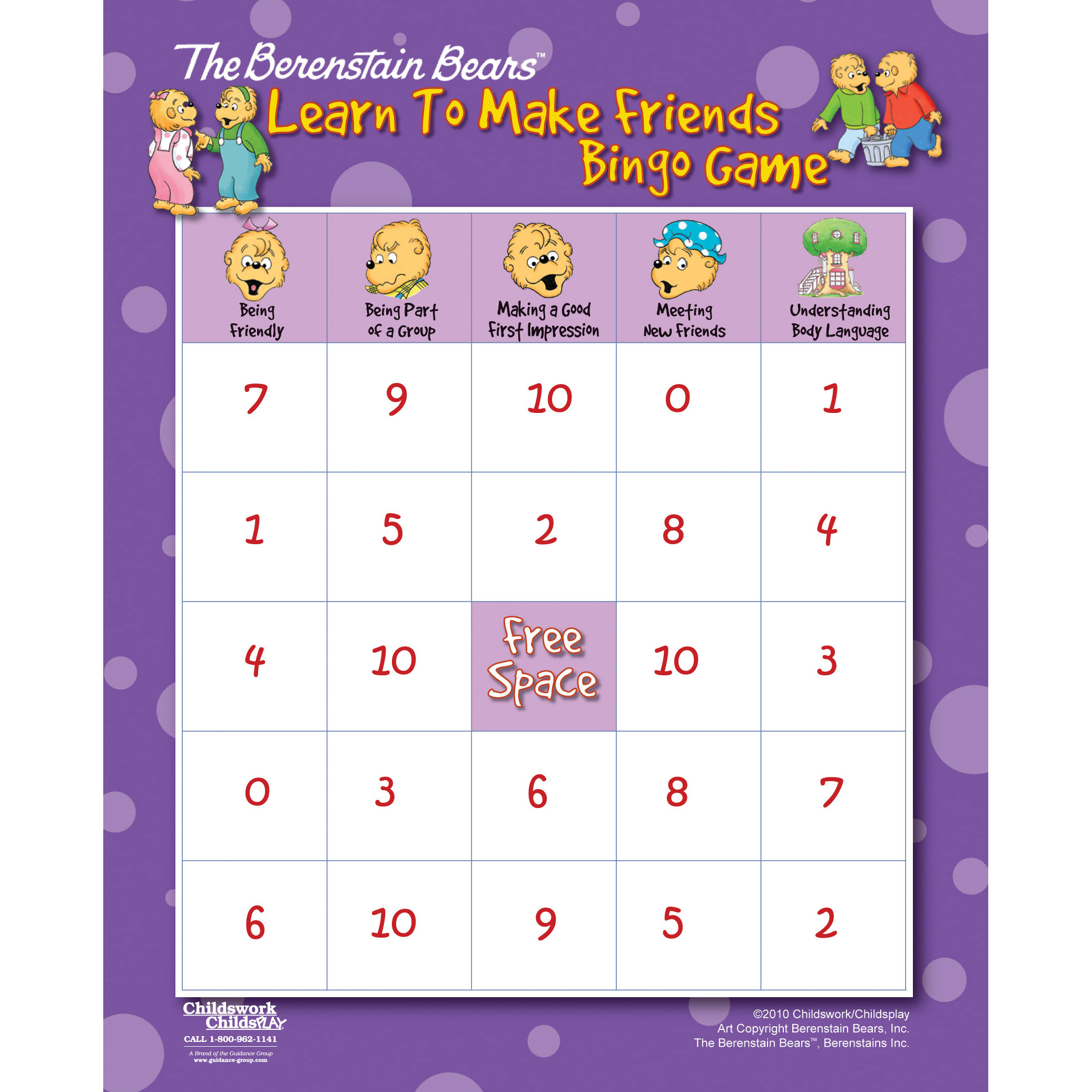 The Berenstain Bears Learn to Make Friends Bingo Game