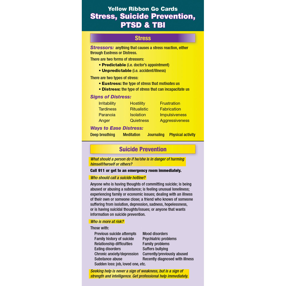 Yellow Ribbon Program Go Card: (50 Pack) Stress, Suicide Prevention, PTSD, and TBI