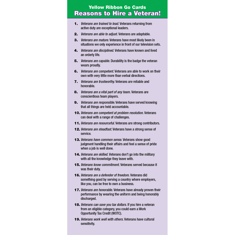 Yellow Ribbon Program Go Card: (50 Pack) Reasons to Hire A Veteran!