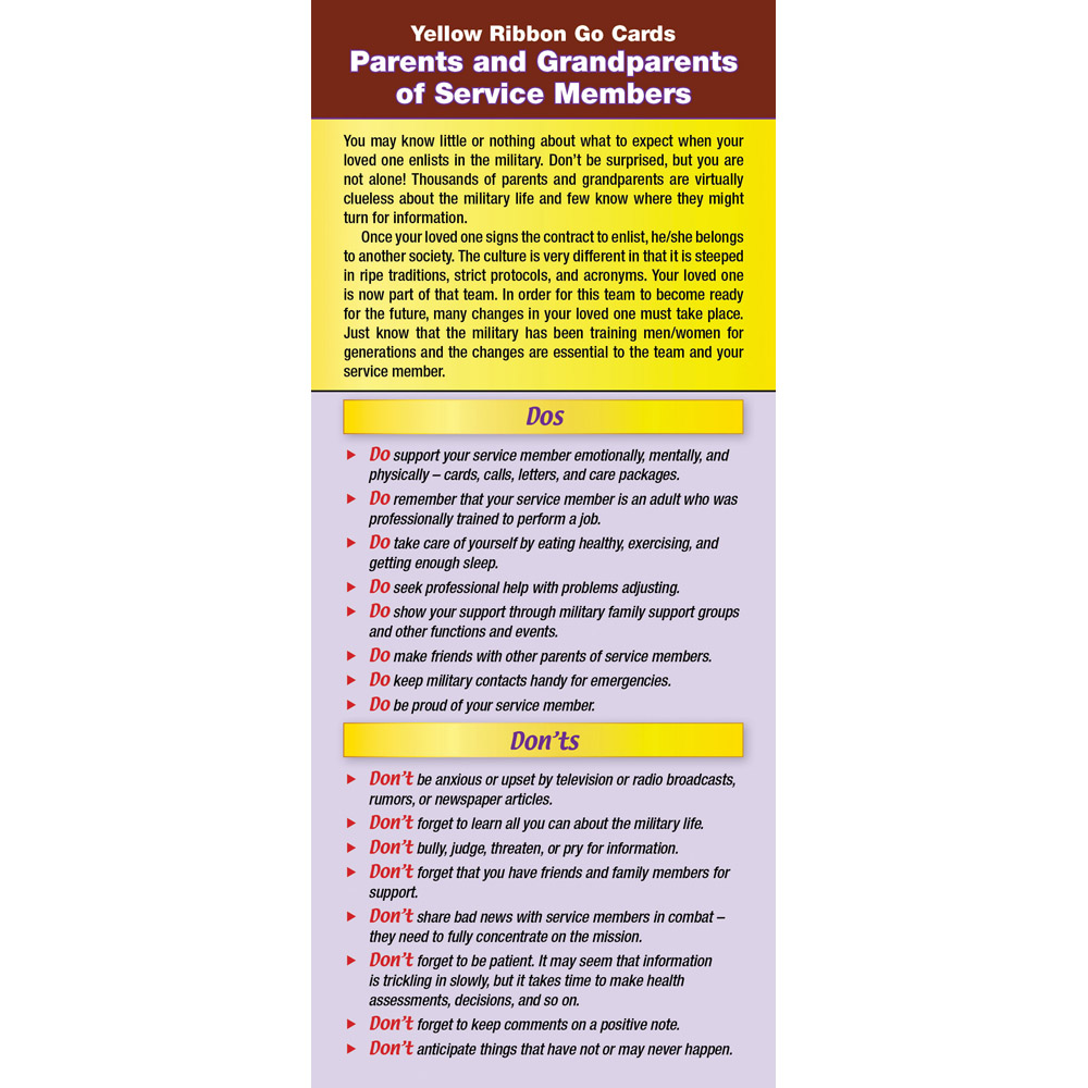 Yellow Ribbon Program Go Card: (50 Pack) Parents and Grandparents of Service Members