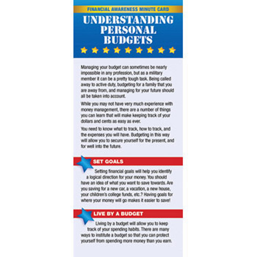 Yellow Ribbon Financial Minute Card: (50 Pack) Understanding Personal Budgets