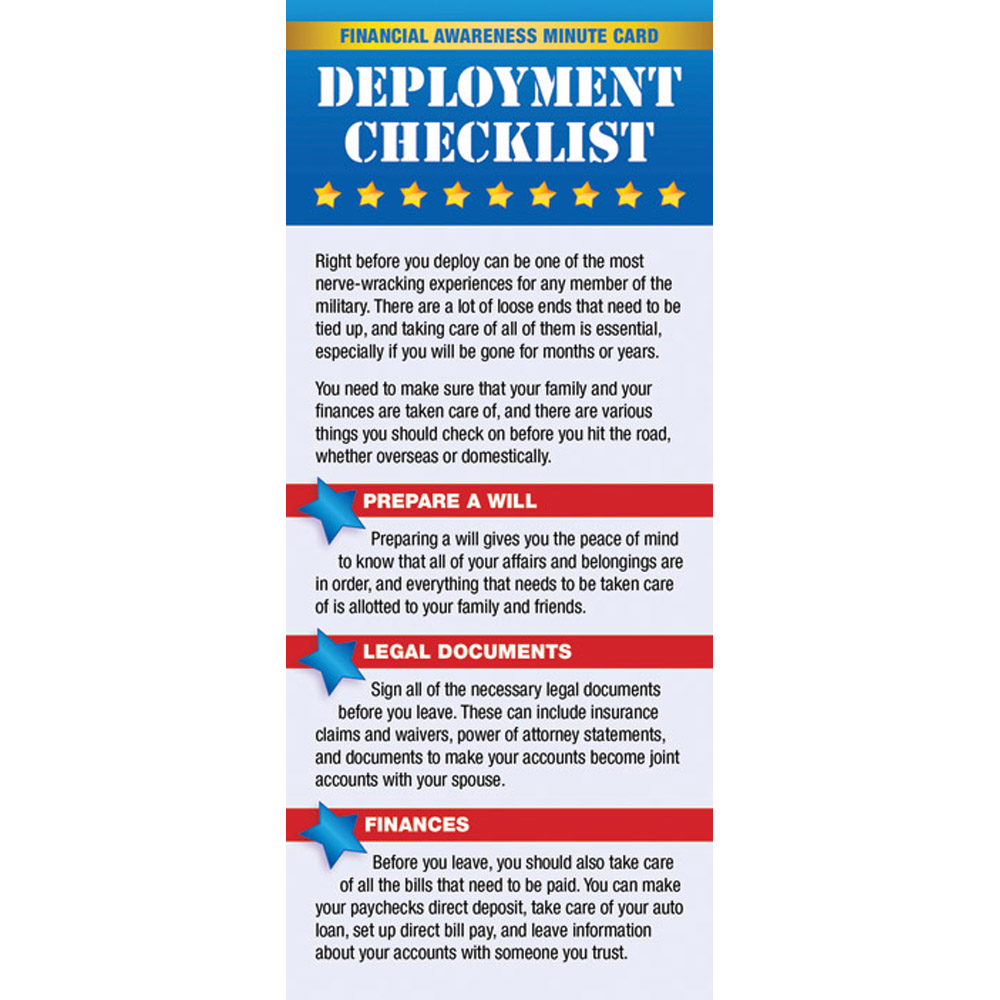Yellow Ribbon Financial Minute Card: (50 Pack) Deployment Checklist