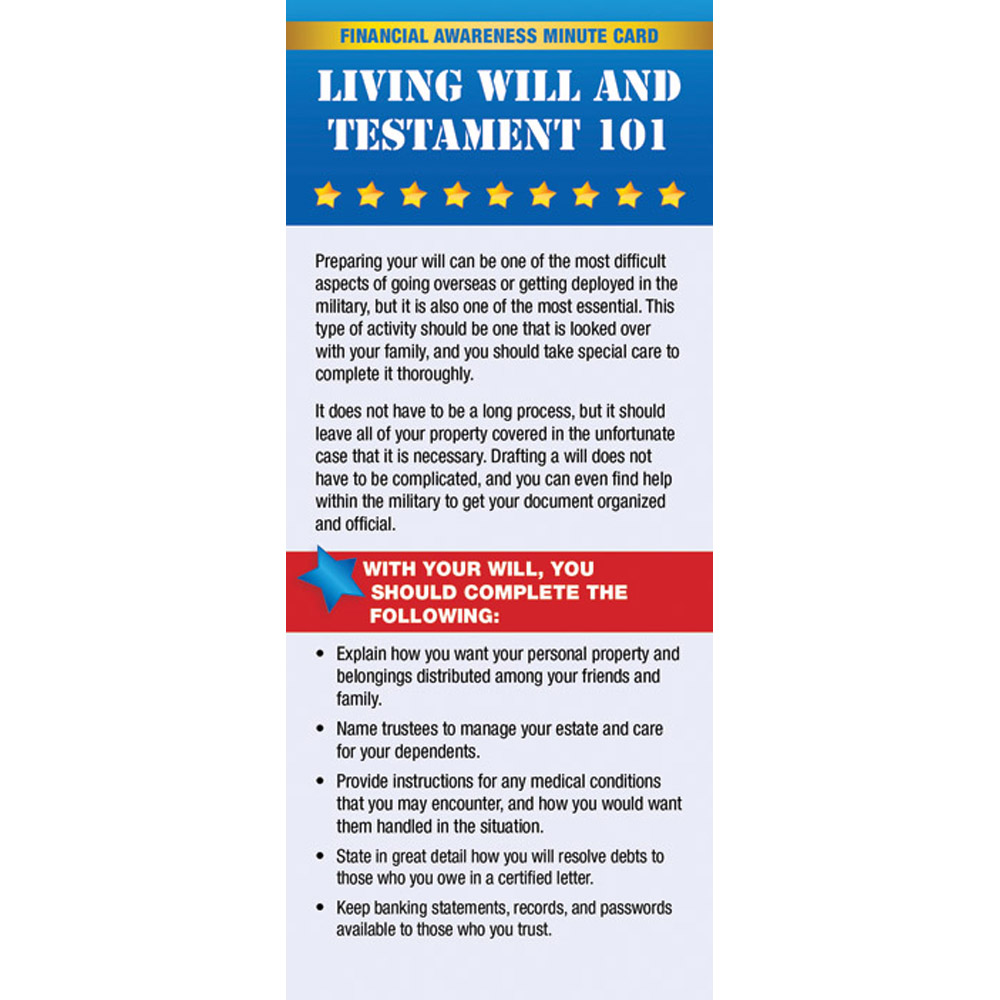 Yellow Ribbon Financial Minute Card: (50 Pack) Living Will and Testament 101