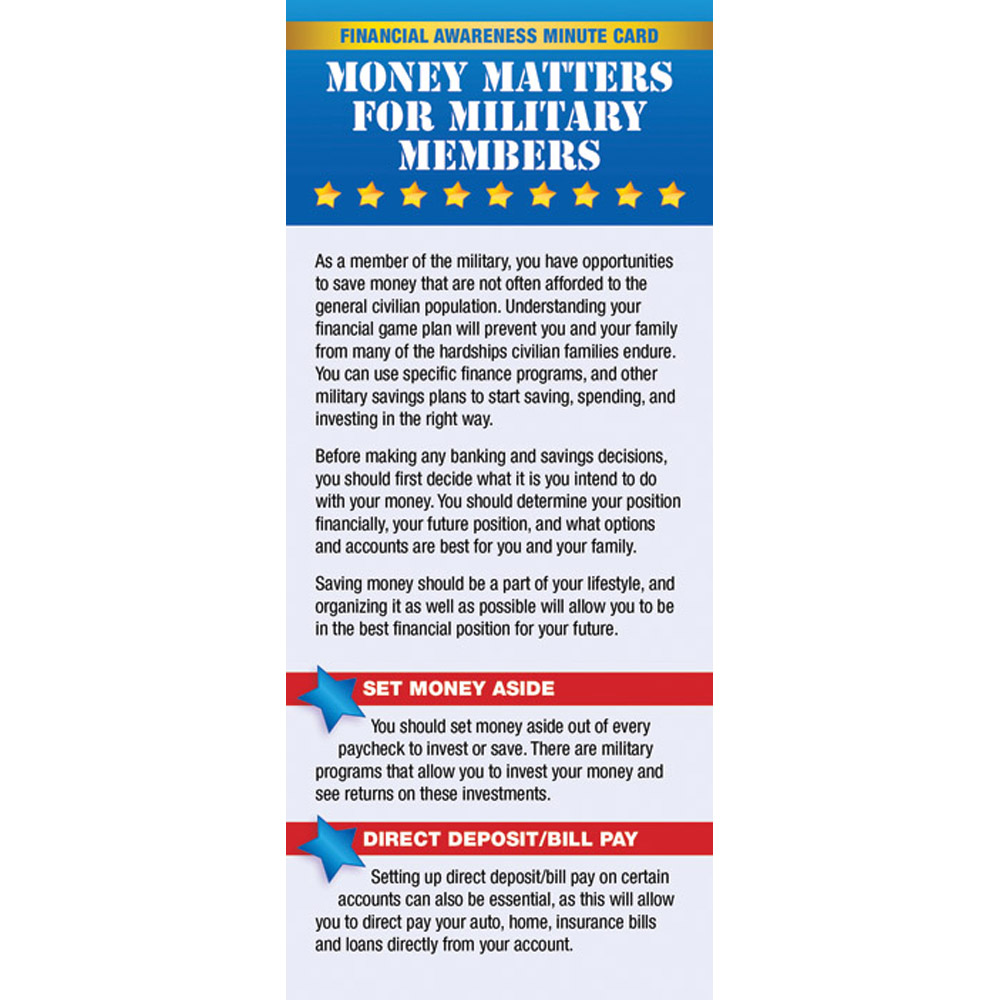 Yellow Ribbon Financial Minute Card: (50 Pack) Money Matters for Military Members