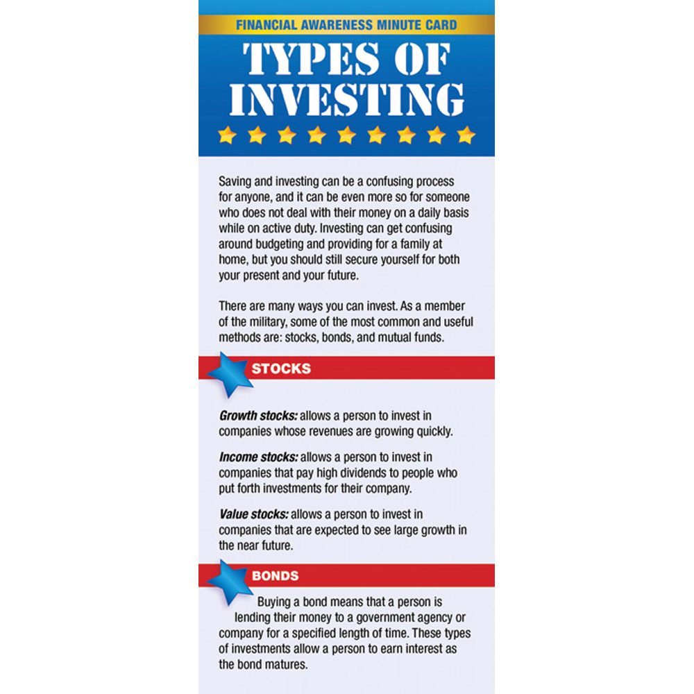 Yellow Ribbon Financial Minute Card: (50 Pack) Types of Investing
