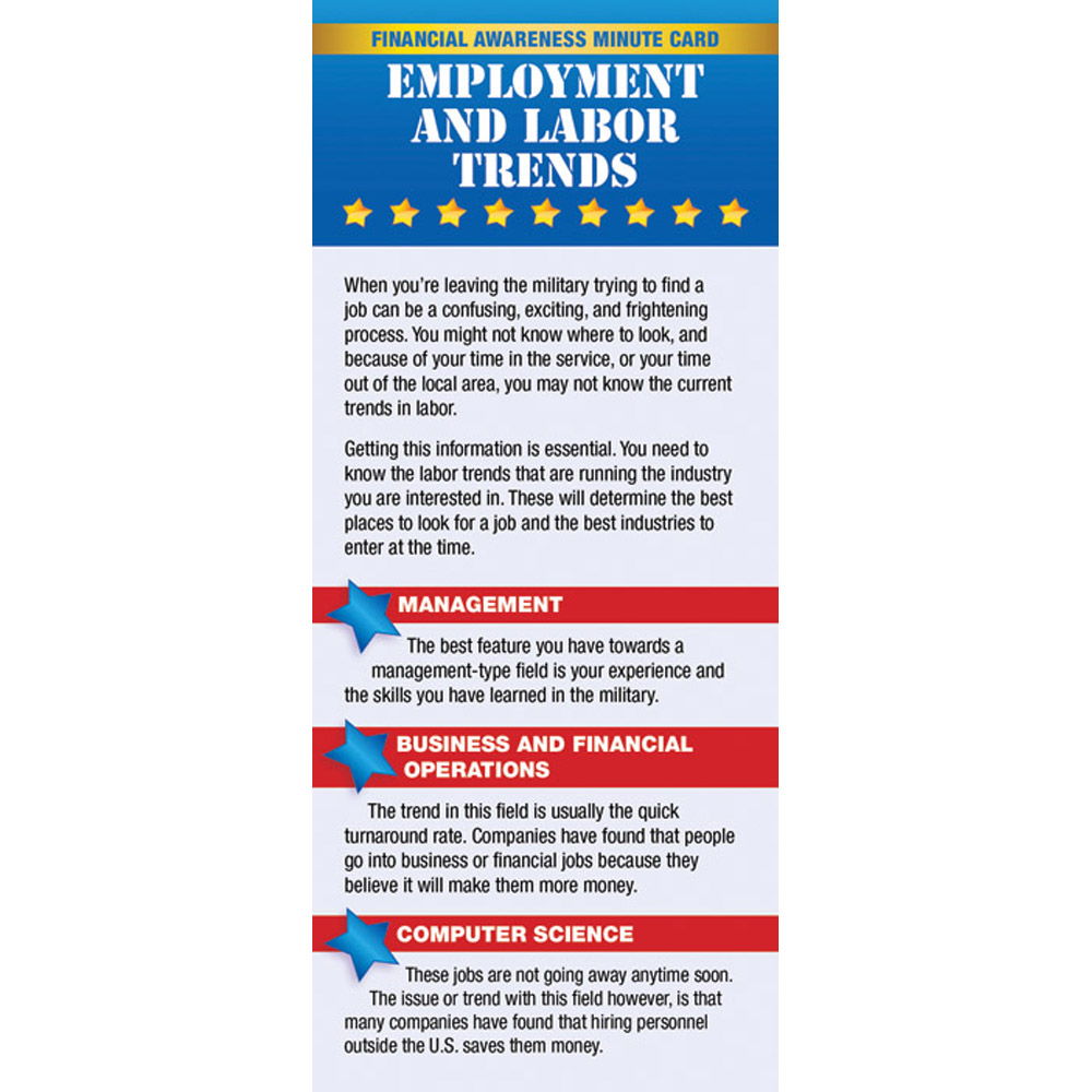 Yellow Ribbon Financial Minute Card: (50 Pack) Employment and Labor Trends
