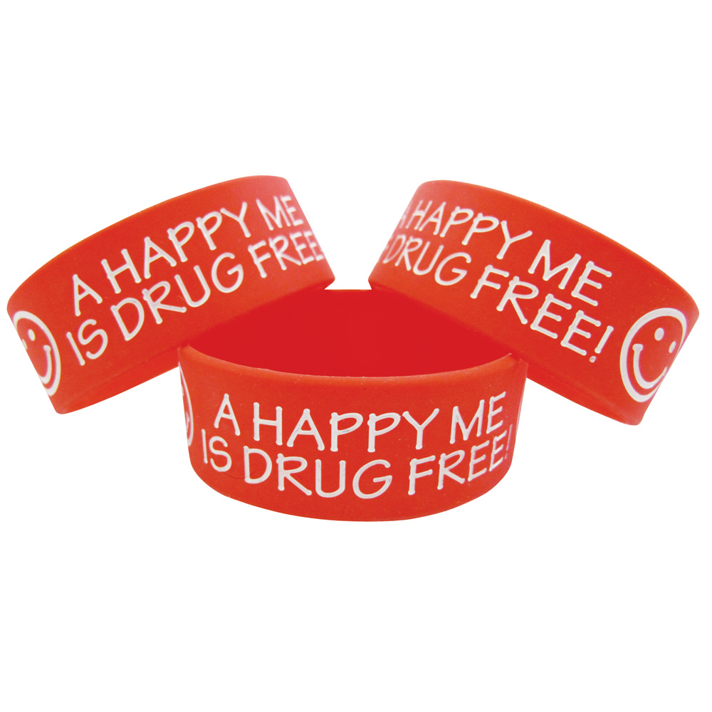 A Happy Me is Drug Free (10 Pack) Wide Silicone Bracelet