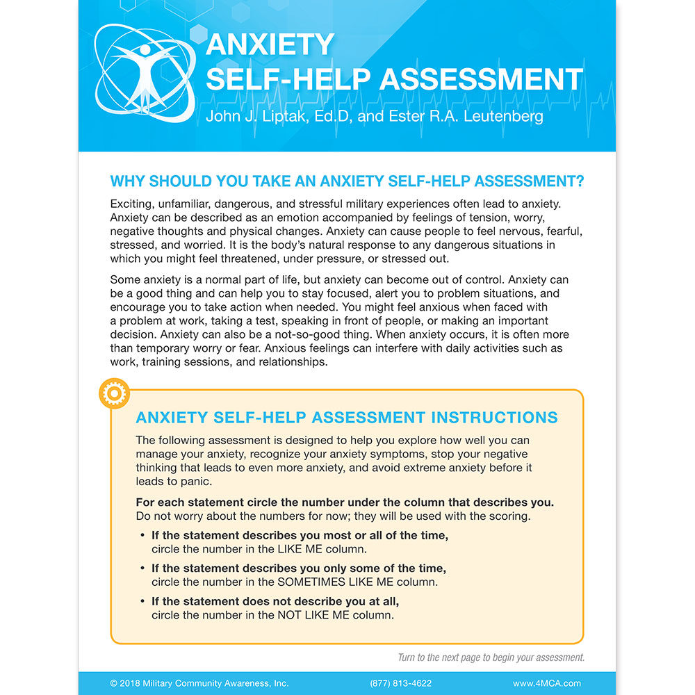 Anxiety Self‑Help  Assessment
