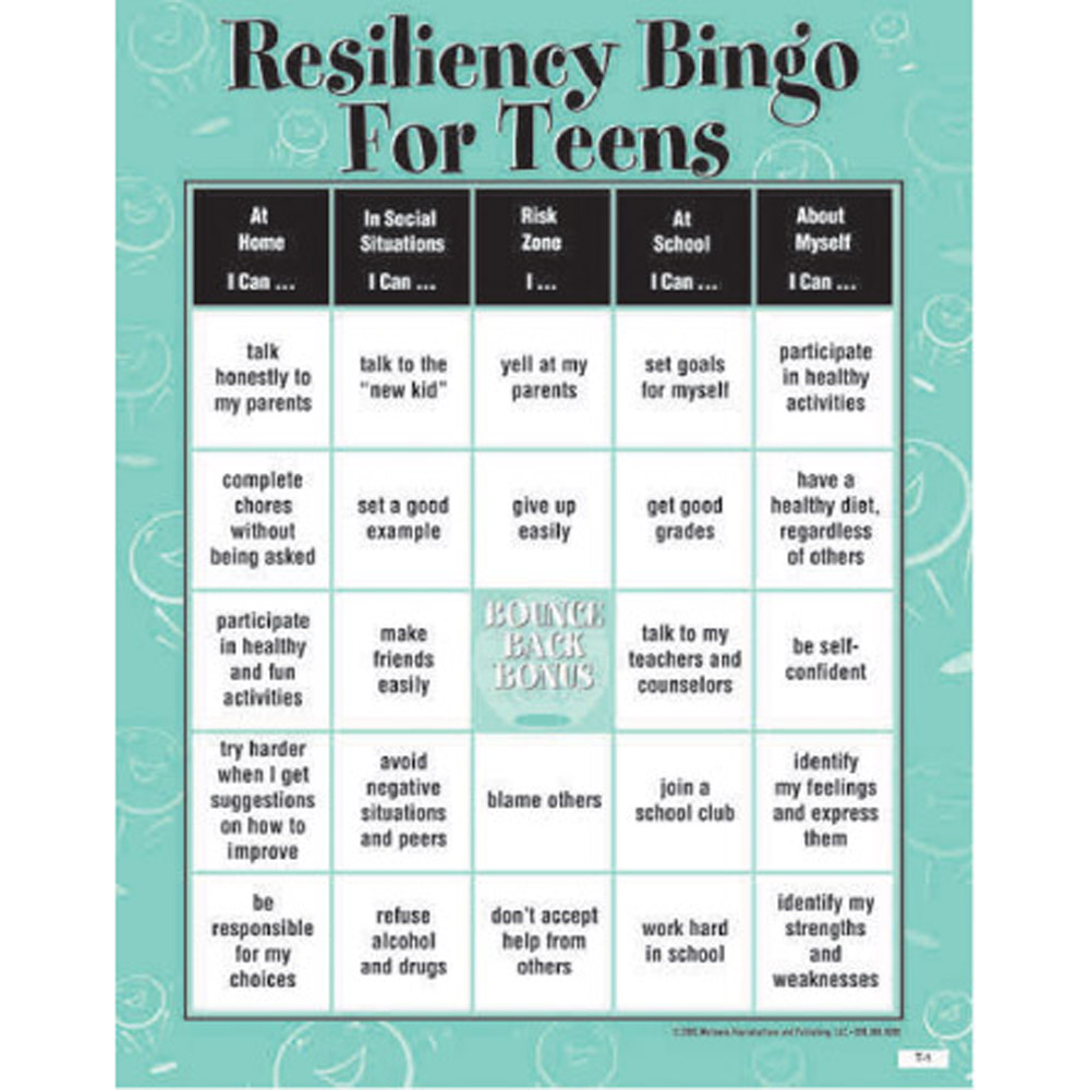Resiliency Bingo Game for Teens
