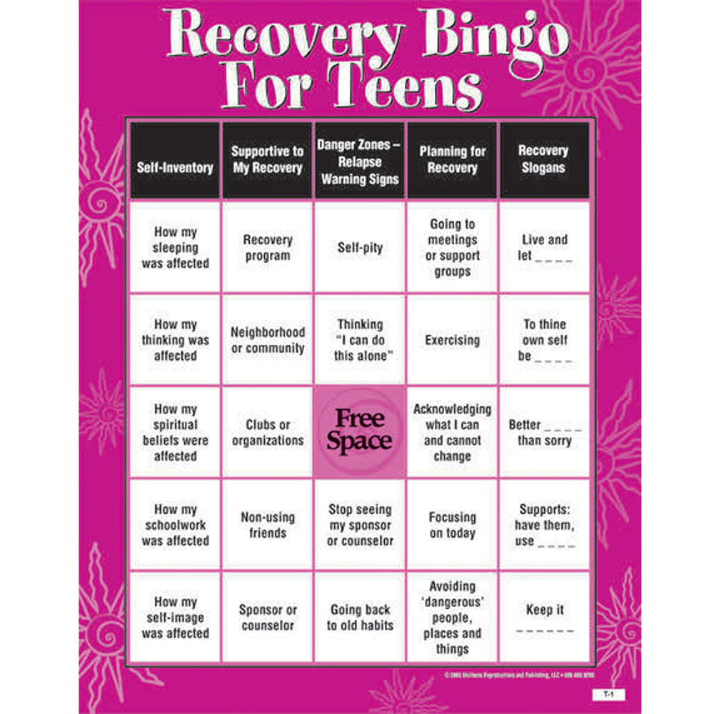 Recovery Bingo Game for Teens