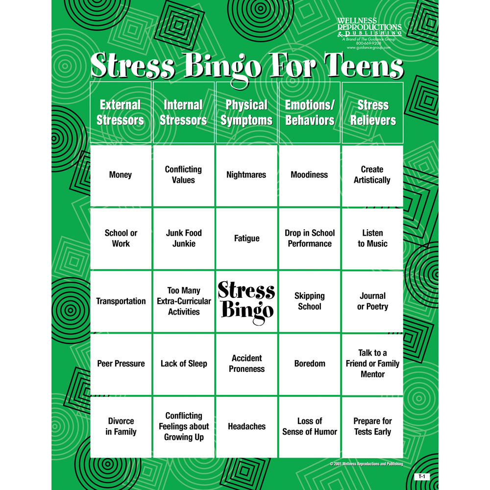 Stress Bingo Game for Teens