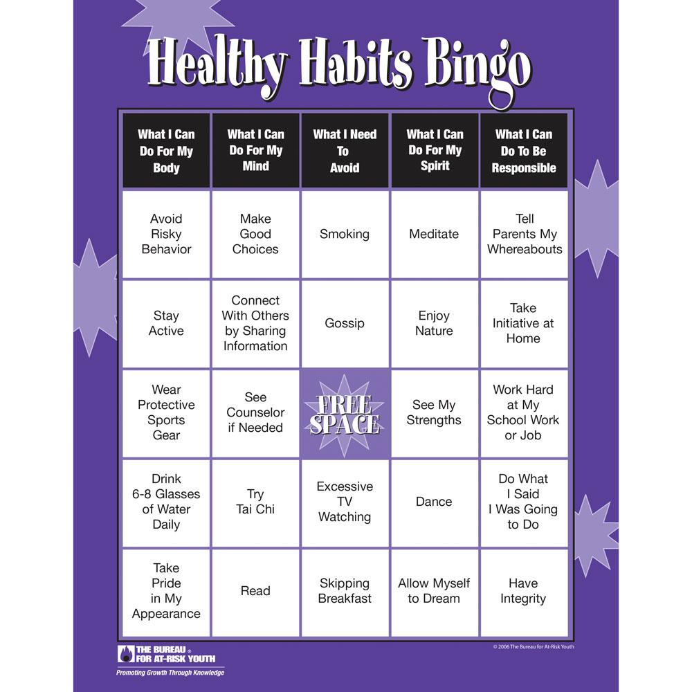 Healthy Habits Bingo Game