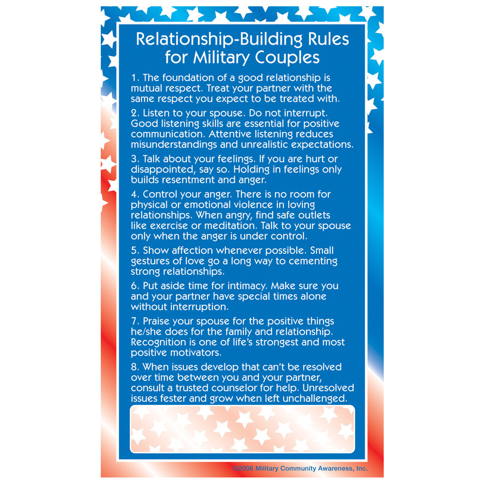 Positive Message Magnet: (25 Pack) Relationship Building Rules for Military Couples