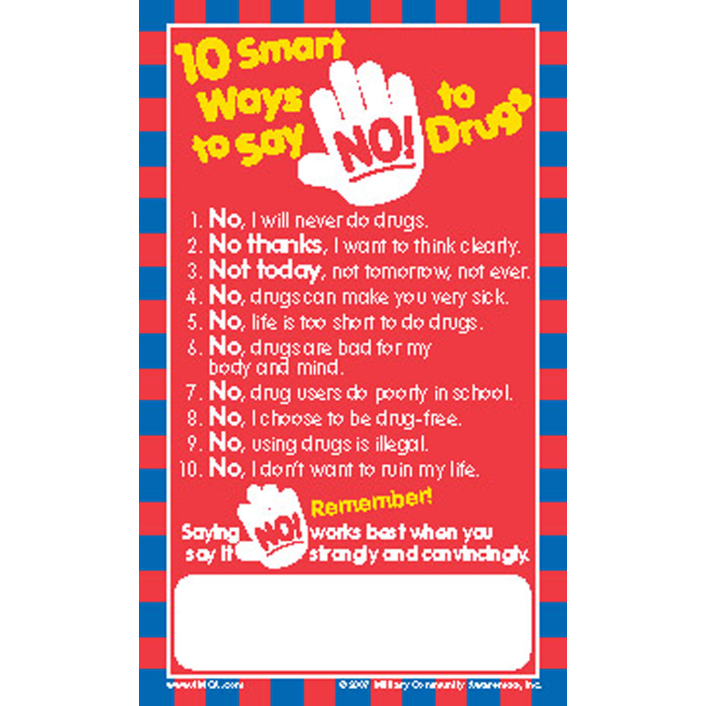Positive Message Magnet: (25 Pack) 10 Smart Ways to Say No to Drugs