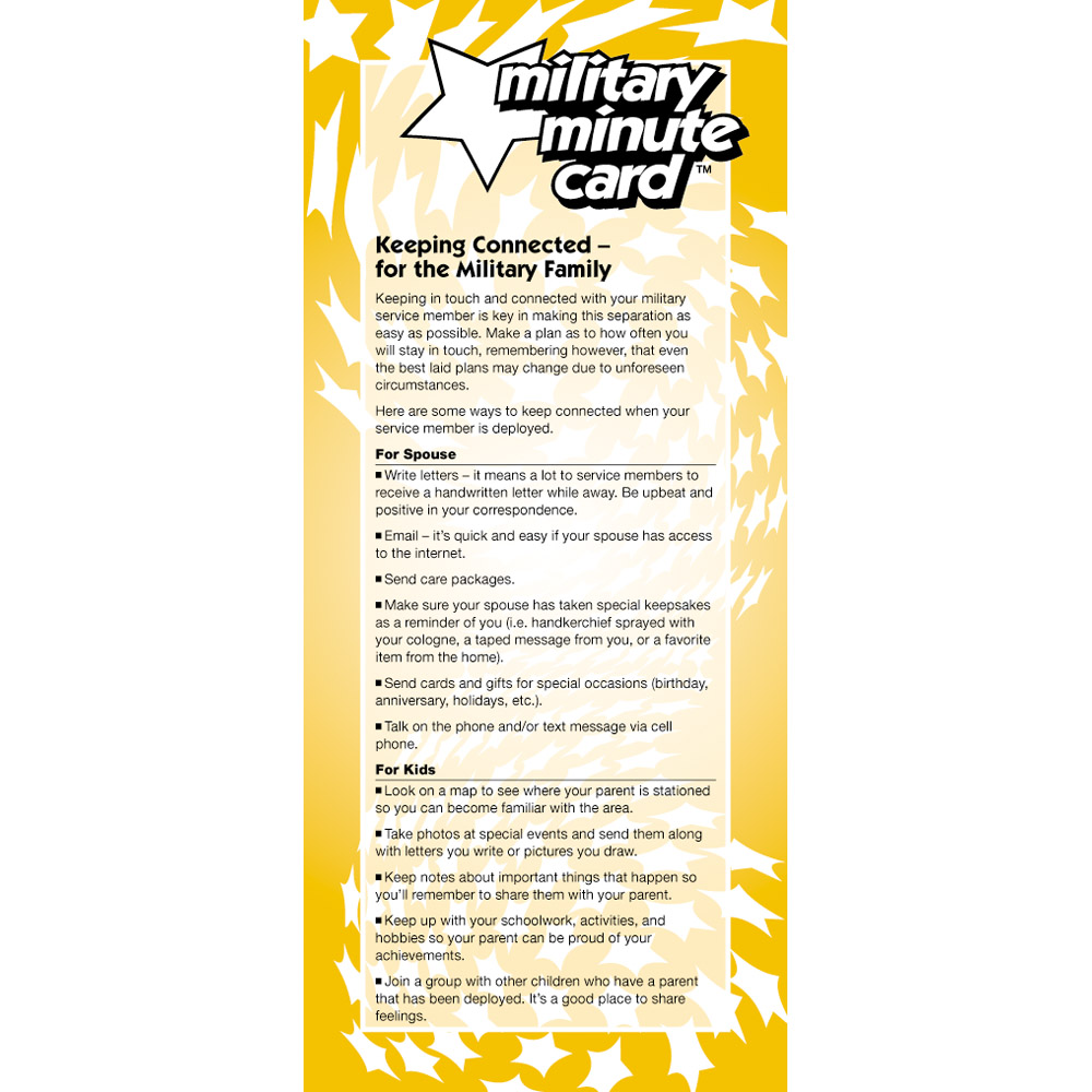 Military Minute Card: (50 Pack) Keeping Connected