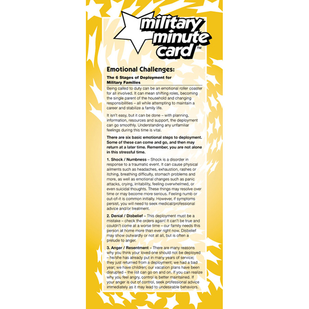 Military Minute Card: (50 Pack) Emotional Challenges: The 6 Stages of Deployment for Military Families