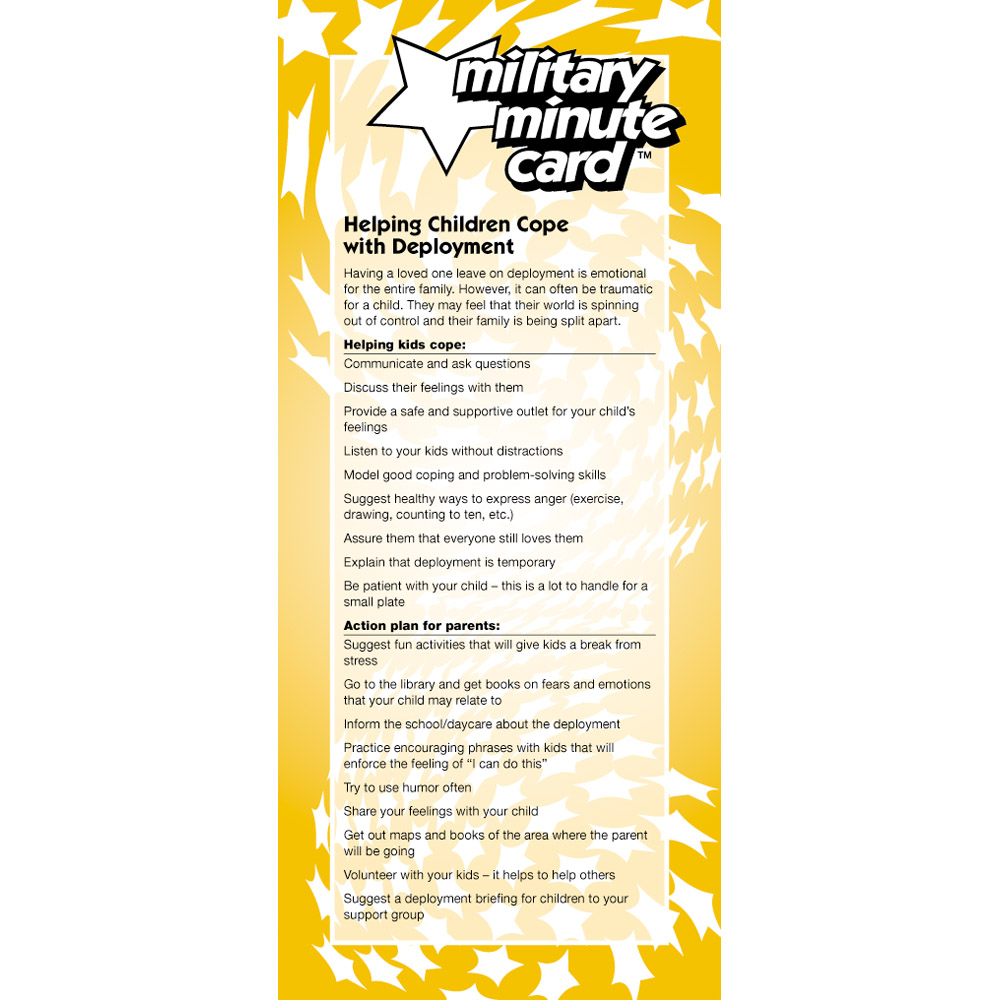 Military Minute Card: (50 Pack) Helping Children Cope with Deployment