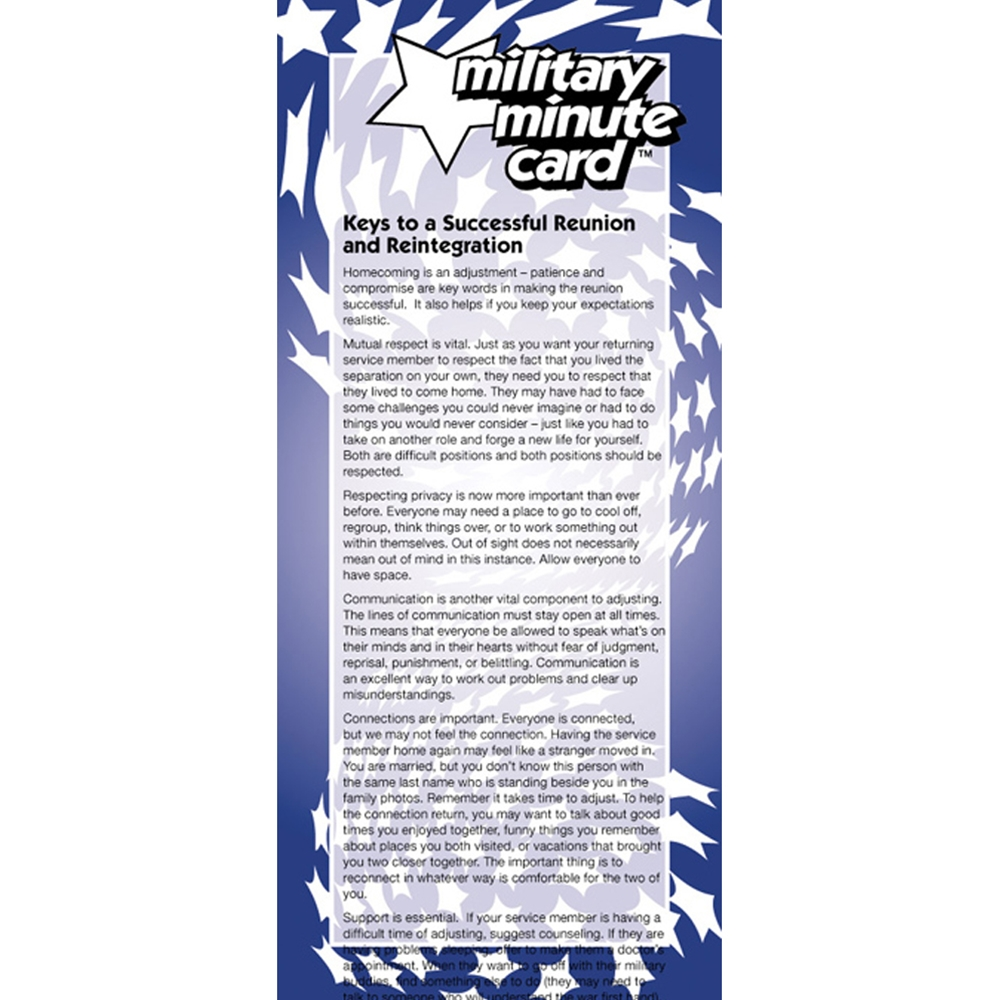 Military Minute Card: (50 Pack) Keys to a Successful Reunion and Reintegration