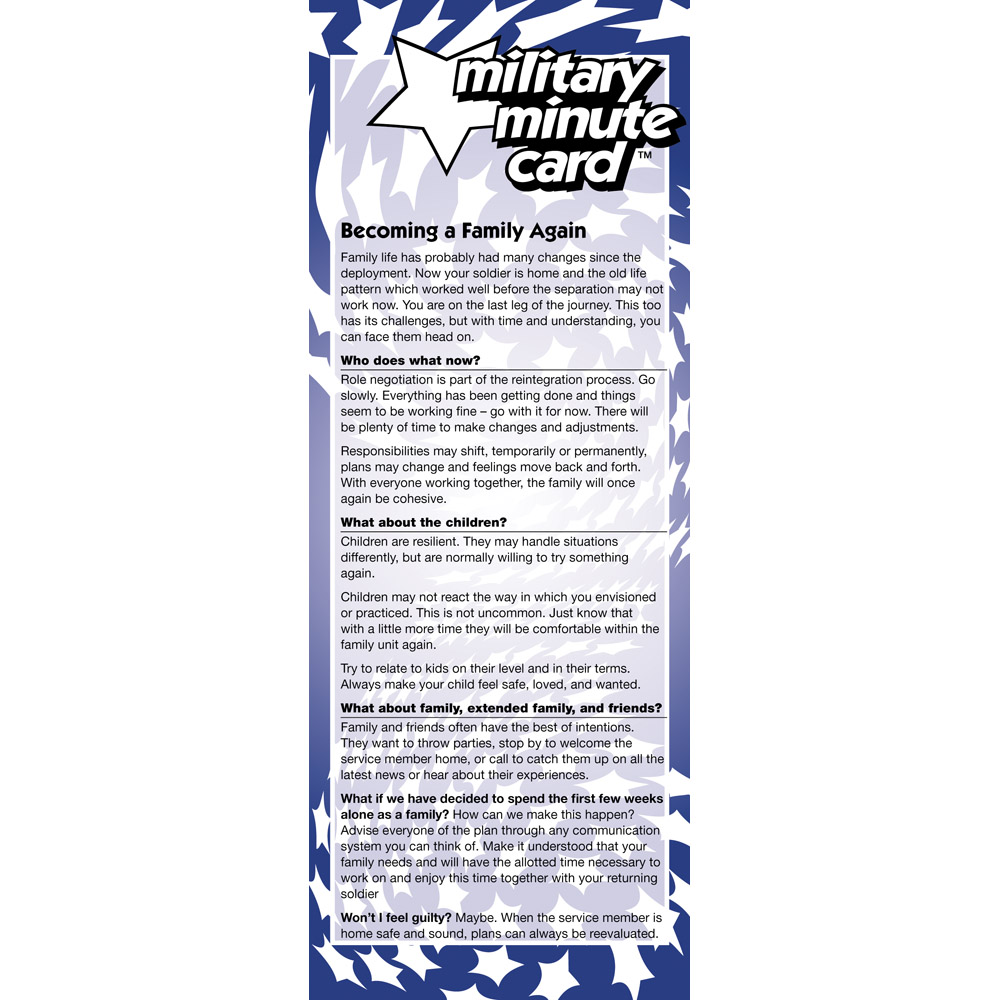 Military Minute Card: (50 Pack)  Becoming a Family Again