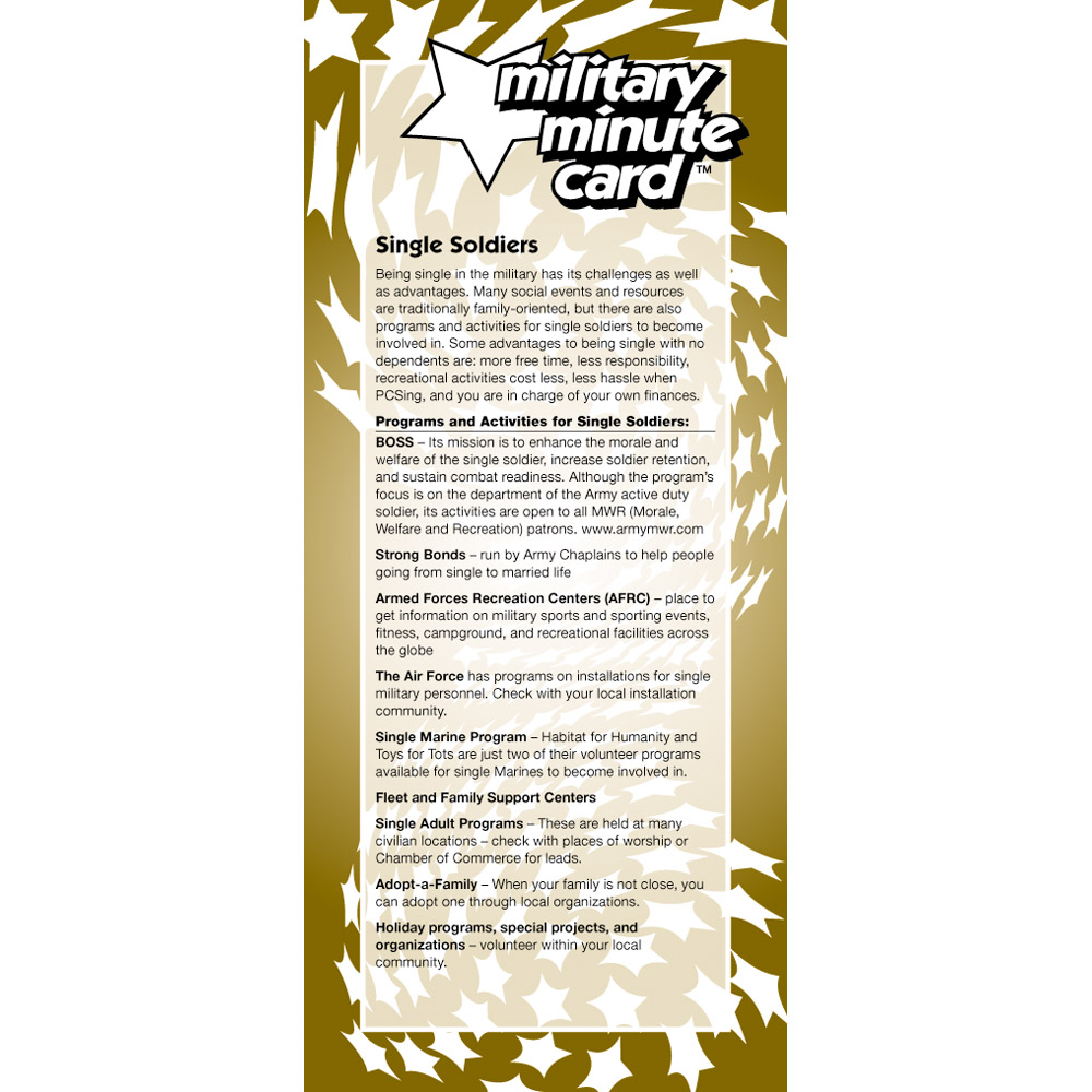 Military Minute Card: (50 Pack) Single Soldiers