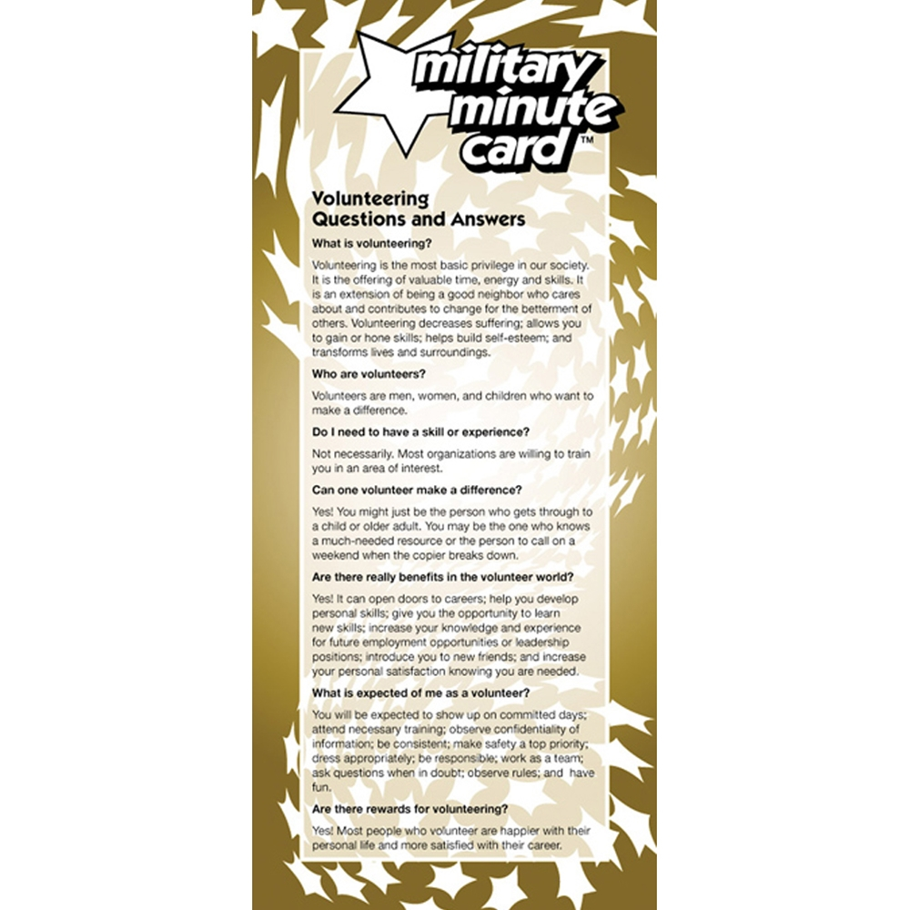 Military Minute Card: (50 Pack) Volunteering   Questions and Answers