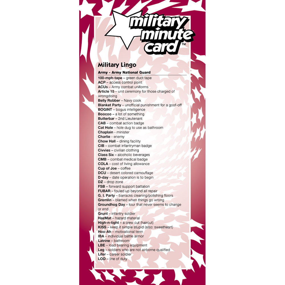 Military Minute Card: (50 Pack) Army/Army National Guard