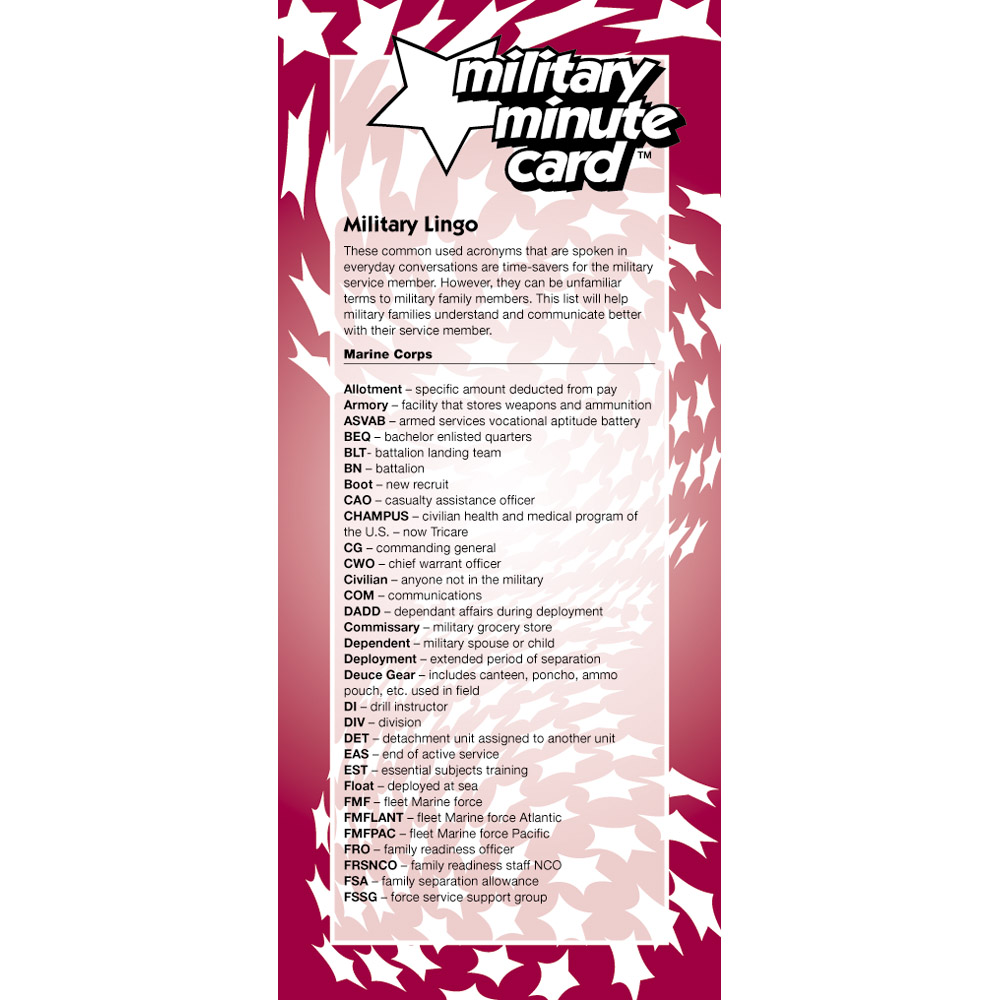 Military Minute Card: (50 Pack) Marines