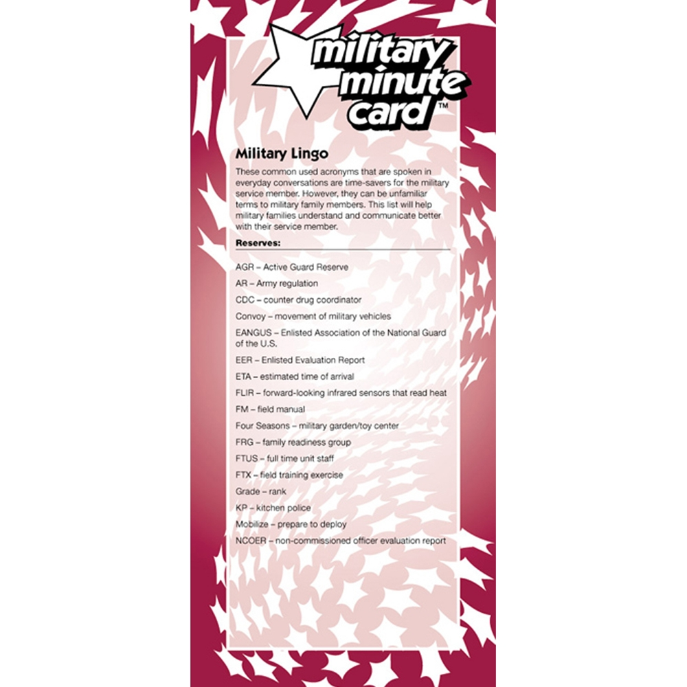 Military Minute Card: (50 Pack) Reserves