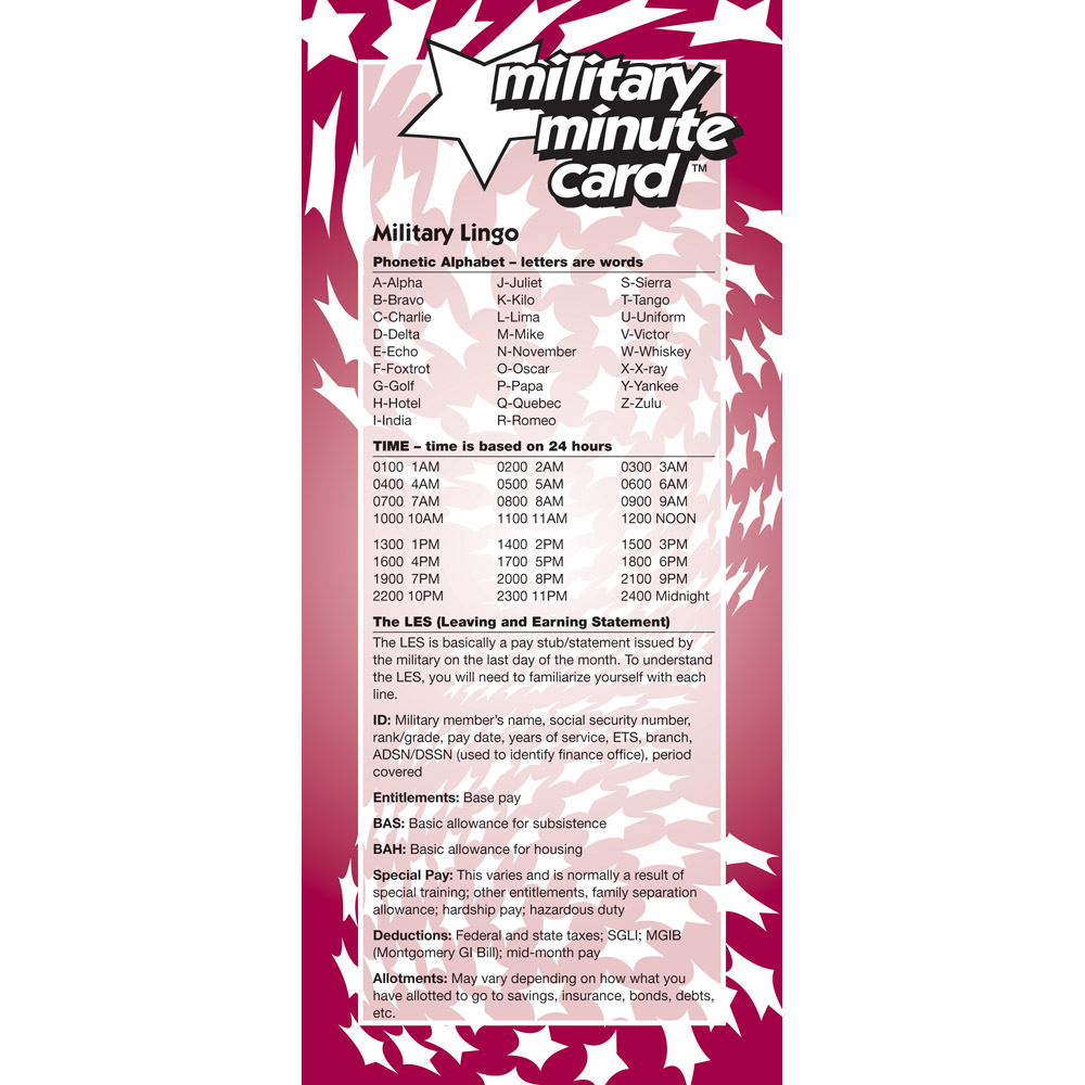 Military Minute Card: (50 Pack) Alphabet, Time, and the LES
