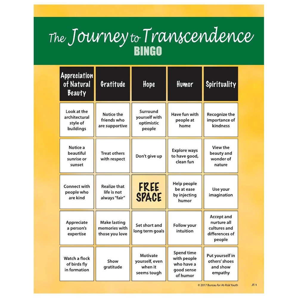 The Journey to Transcendence   Teen Bingo Game