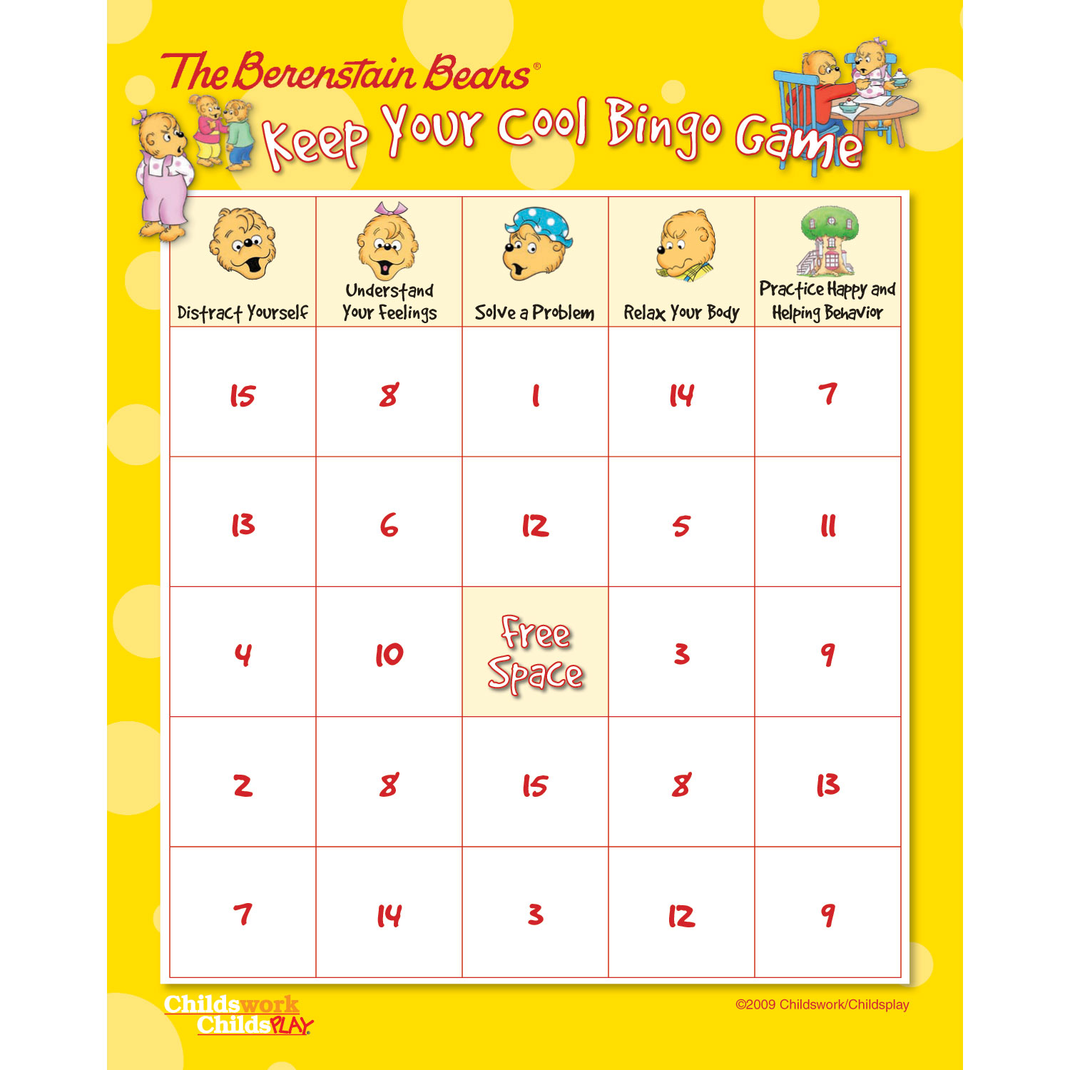 The Berenstain Bears Keep Your Cool Bingo Game