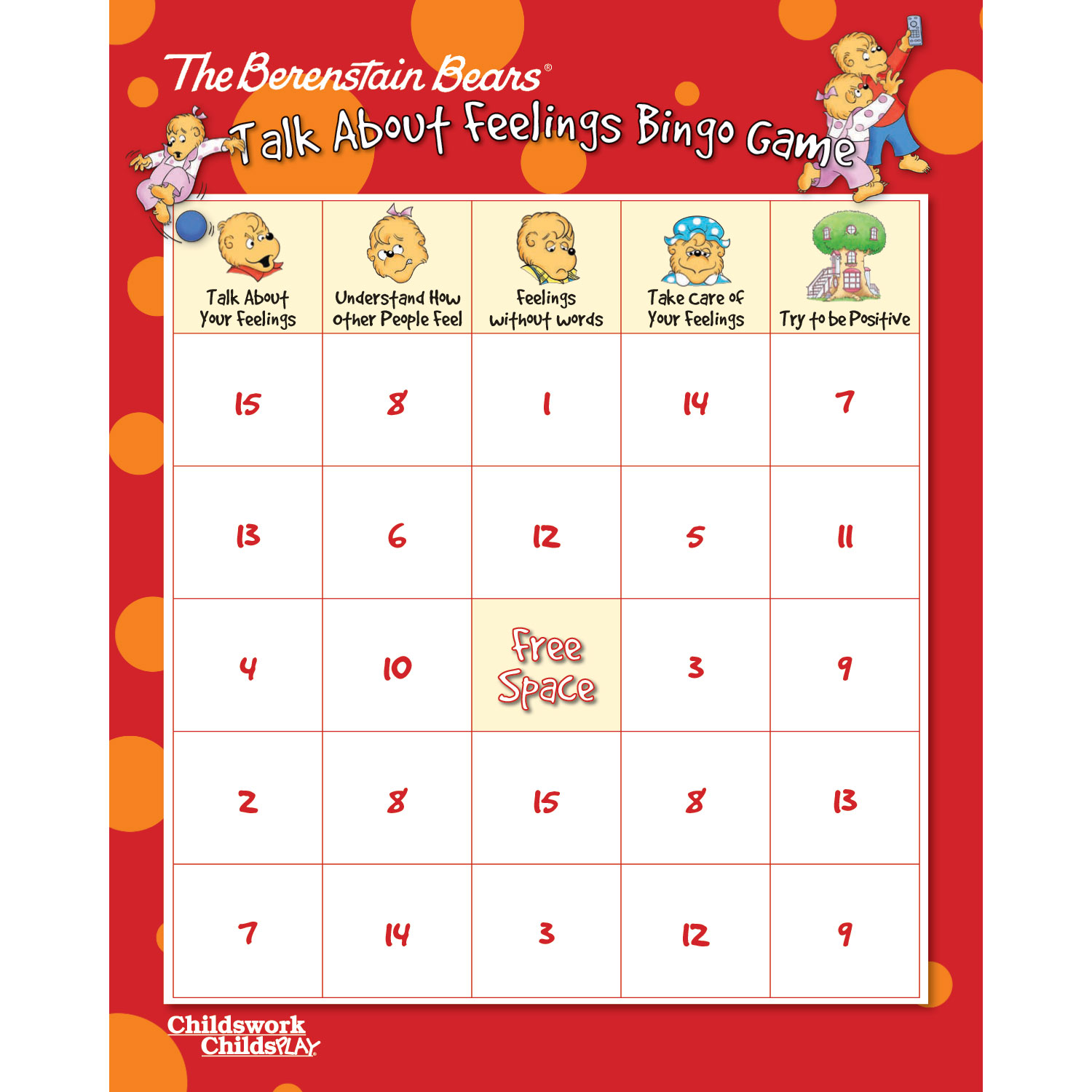 The Berenstain Bears Talk About Feelings Bingo Game