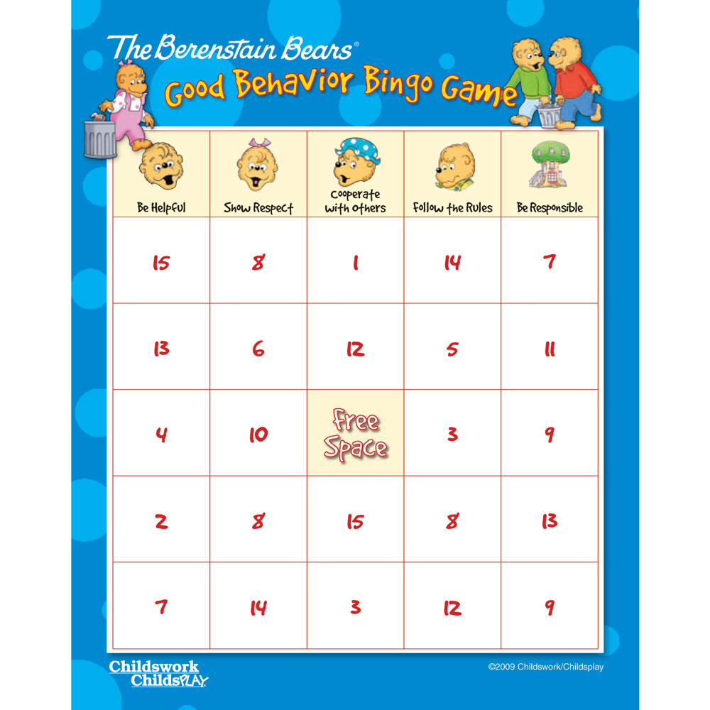 The Berenstain Bears Good Behavior Bingo Game