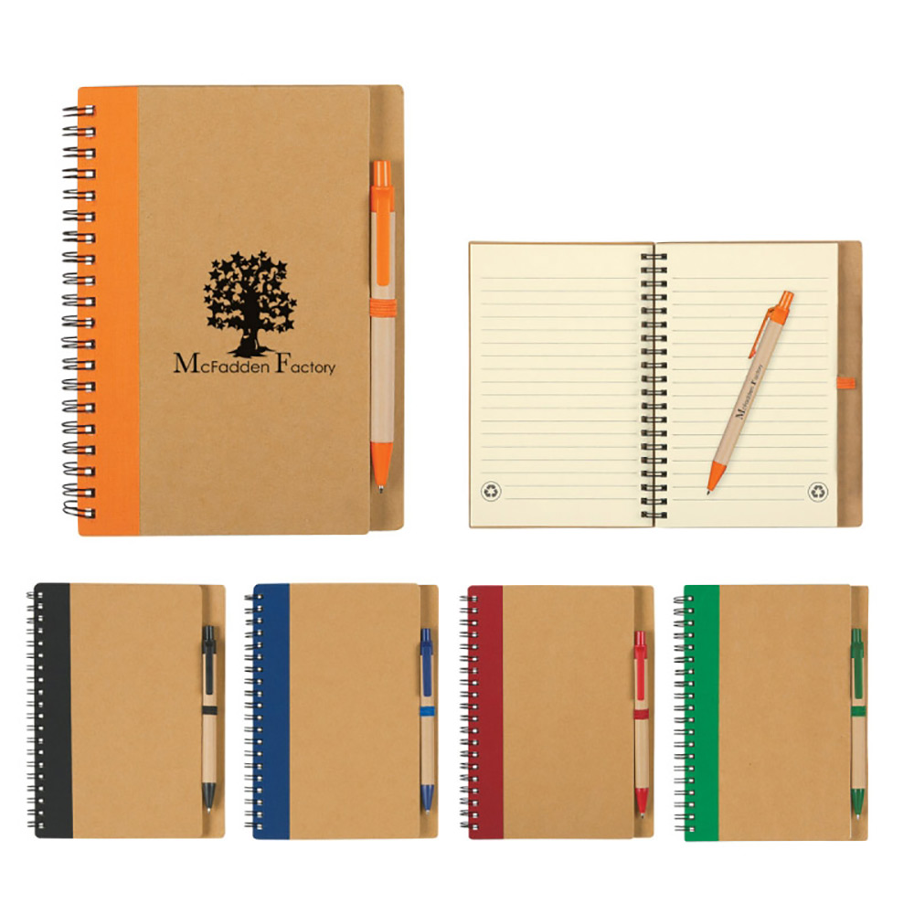 Eco Inspired Spiral Notebook with Pen