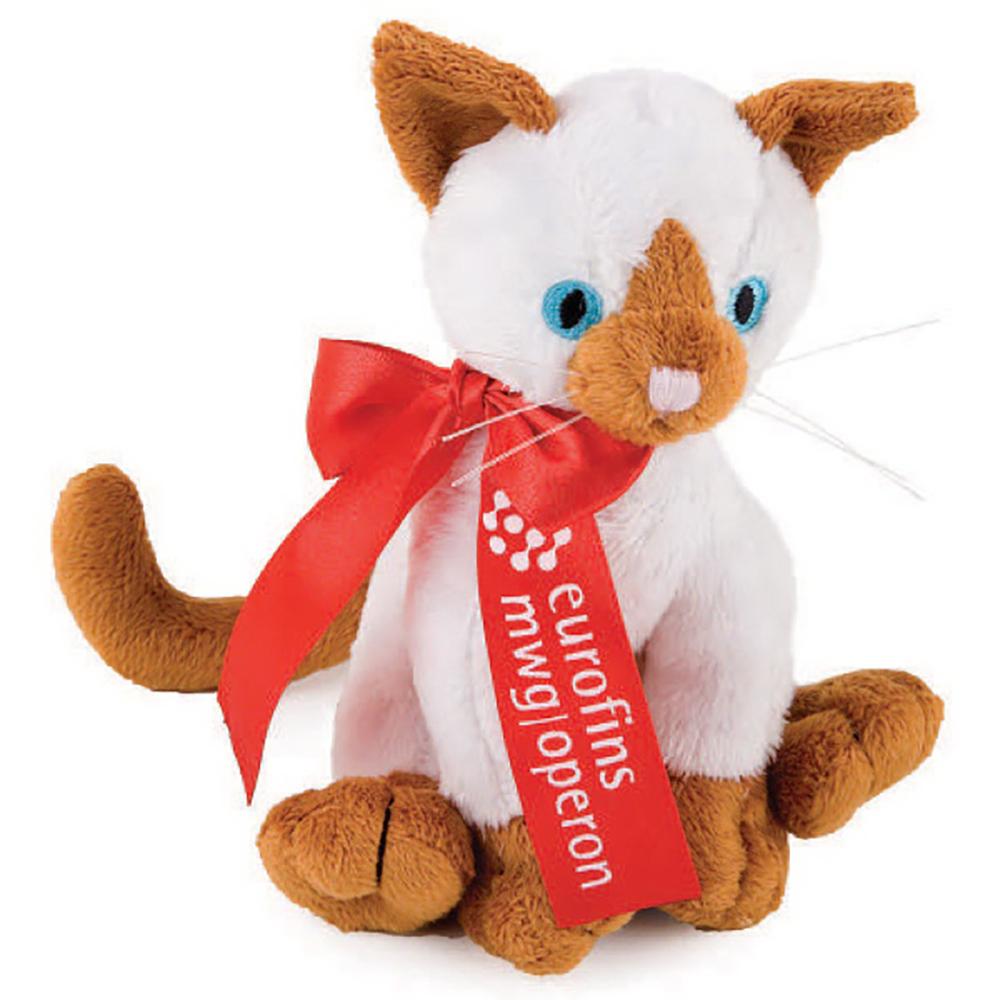 "7"" Extra Soft Siamese Cat  With Ribbon or Bandana"