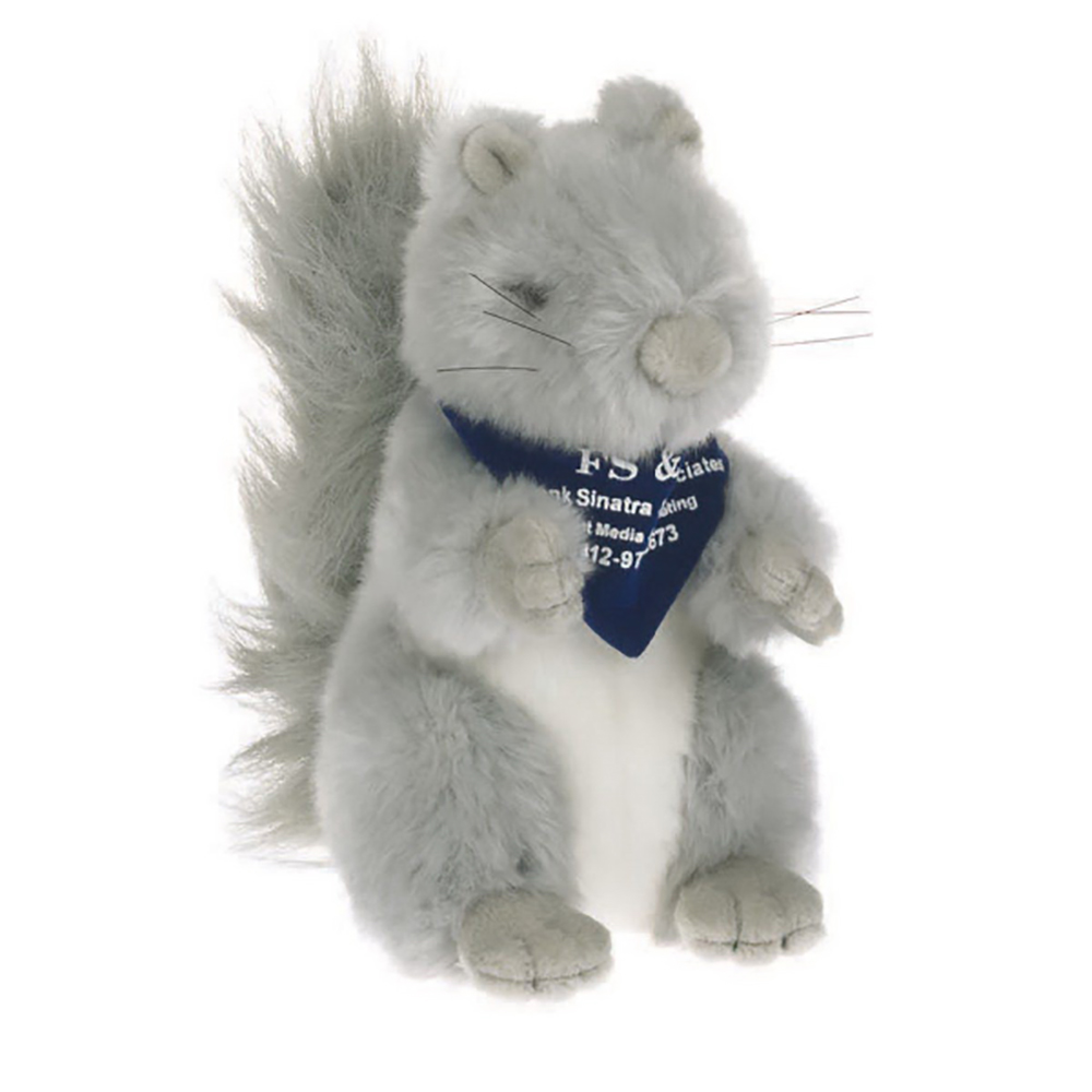 """8"""" Gray Squirrel With Ribbon or Bandana"""