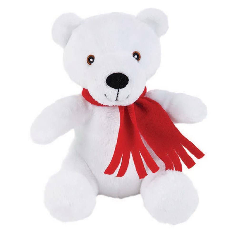 "8"" Super Soft Polar Bear With T Shirt, Ribbon, or Bandana"