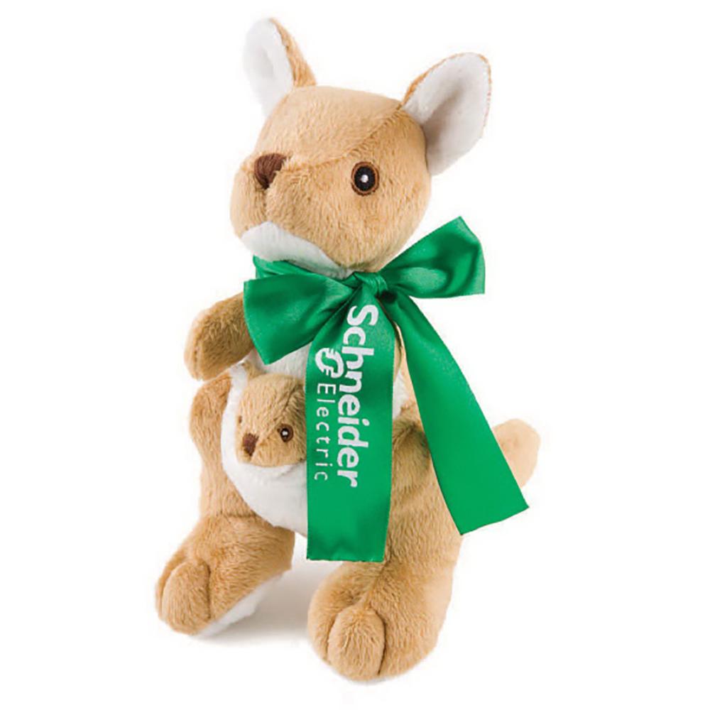 "8"" Wild Outdoor Kangaroo With Baby With Ribbon or Bandana"