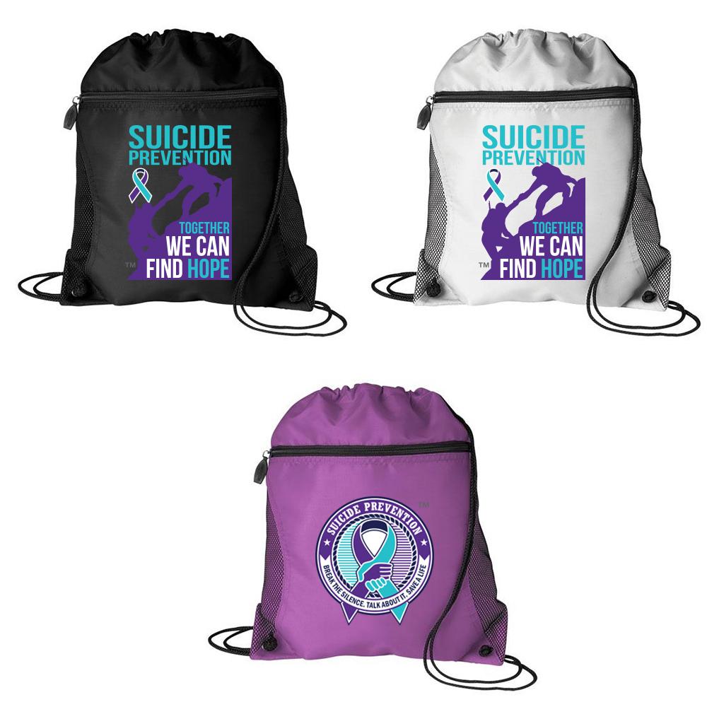 Suicide Prevention Mesh Pocket Drawstring Bag