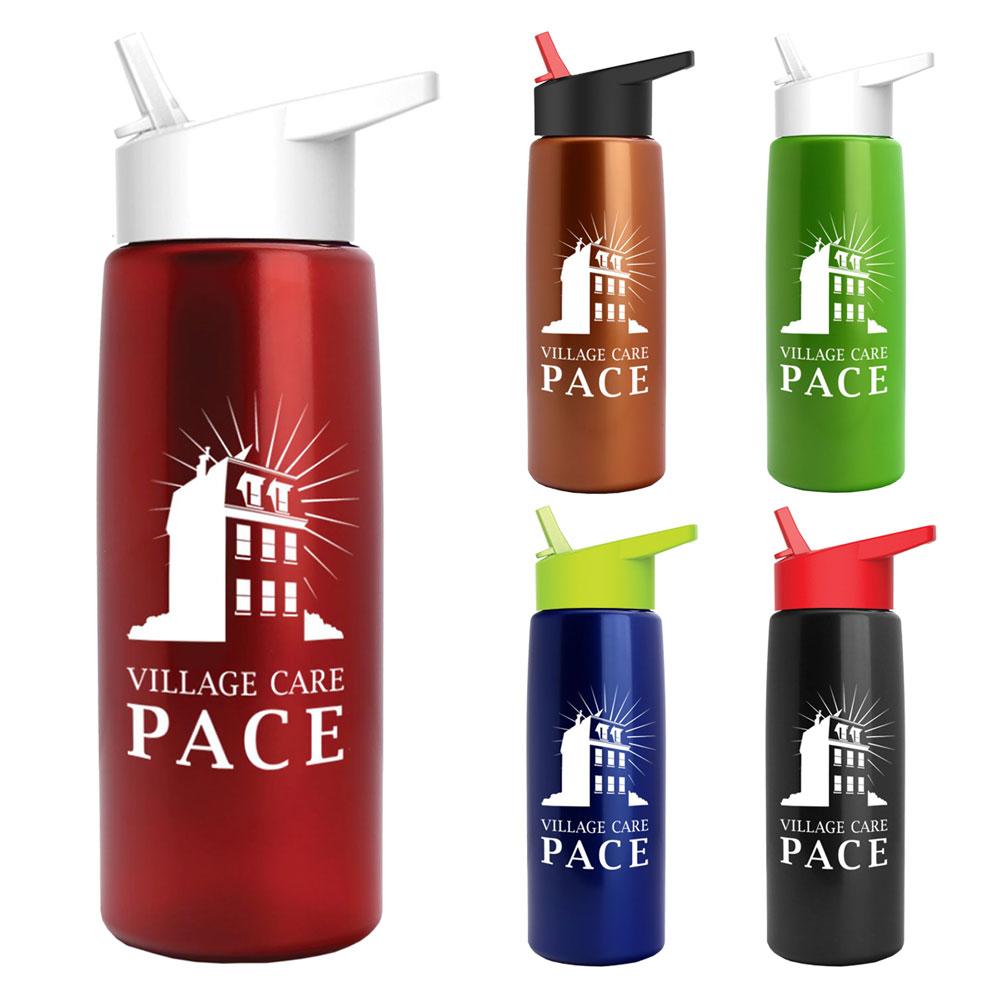 26 oz. Metallic Flair Bottle With Flip Straw Lid