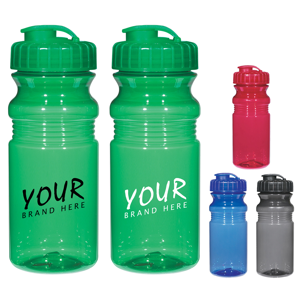20 oz Poly Clear Fitness Bottle with Super Sipper Lid