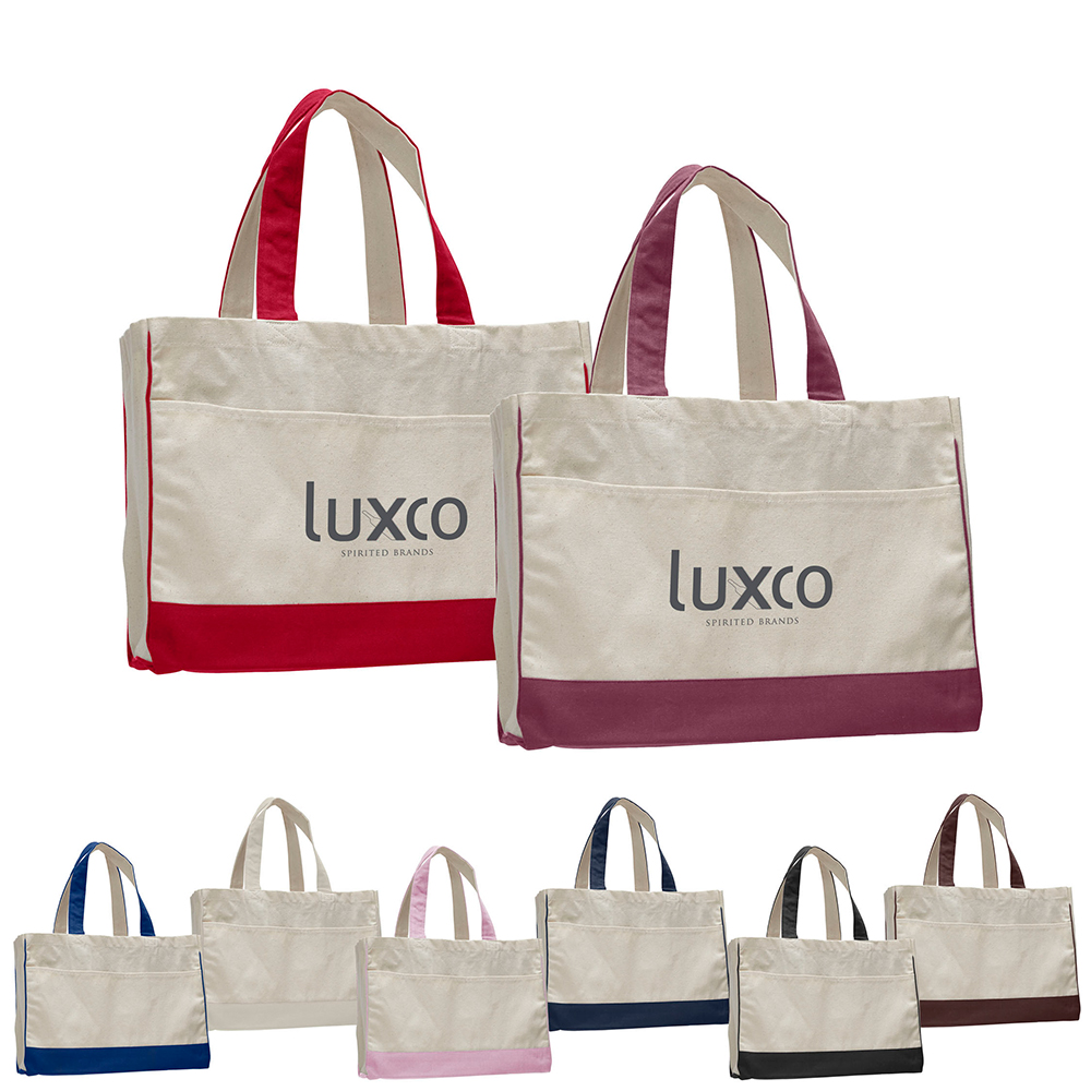 """17"""" Color Trim Gusset Tote With Interior Zipper Pocket"""