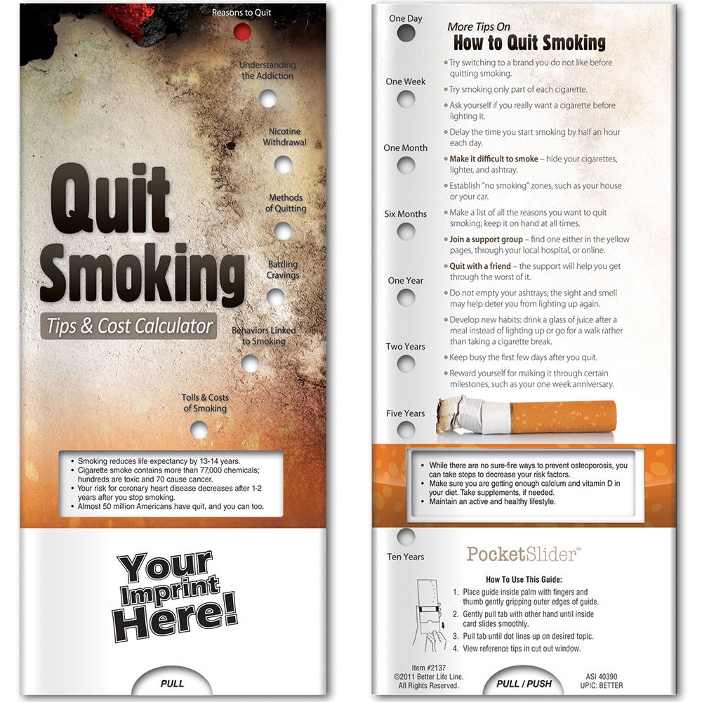 Quit Smoking: Tips & Cost Calculator Pocket Slider