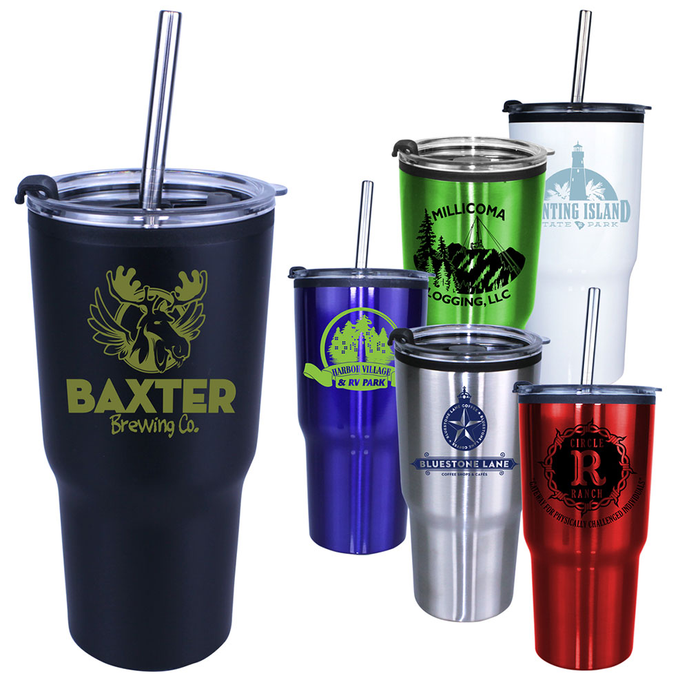 20 oz. Ares Tumbler with Stainless Straw/Flip Top Lid