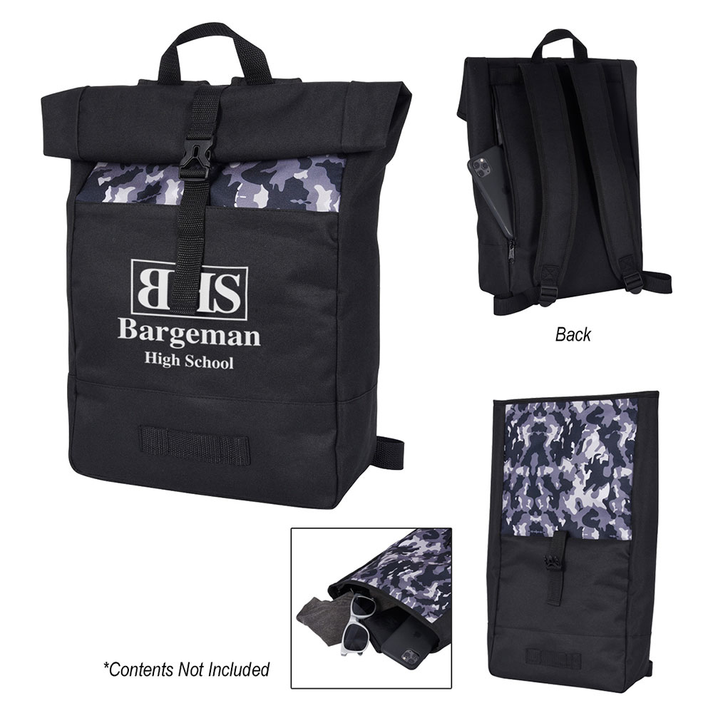 Camo Roll Top Backpack