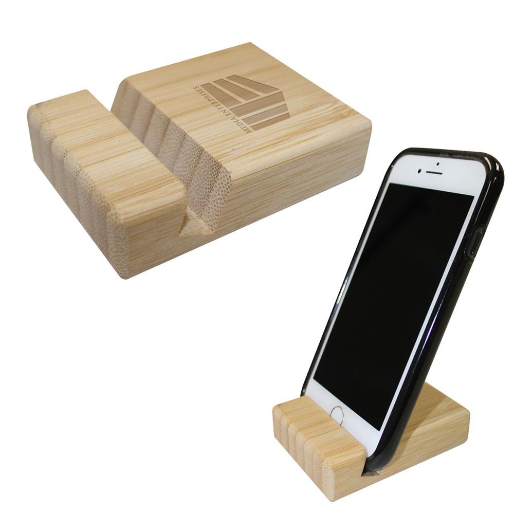 Bamboo Block Phone Stand