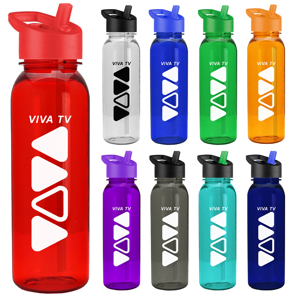 24 oz. Slim Grip Transparent Water Bottle With Flip Straw Lid
