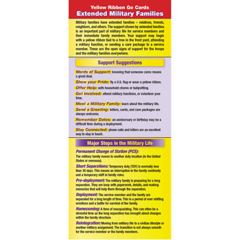 Yellow Ribbon Program Go Card: (50 Pack) Extended Military Families