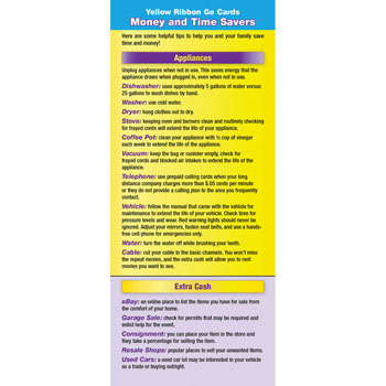 Yellow Ribbon Program Go Card: (50 Pack) Money and Time Savers