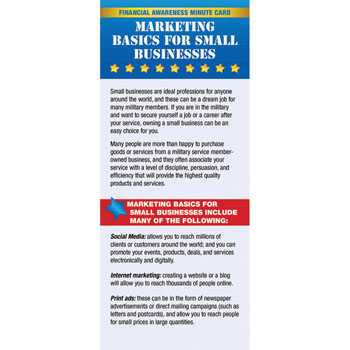 Yellow Ribbon Financial Minute Card: (50 Pack) Marketing Basics for Small Businesses